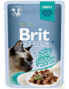 Brit Premium CAT Pouch Gravy Fillets With Beef