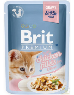Brit Premium CAT Pouch Gravy Kitten Fillets With Chicken