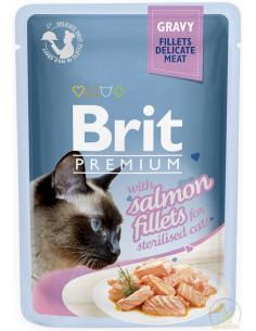Brit Premium CAT Pouch Gravy Sterilised Fillets With Salmon